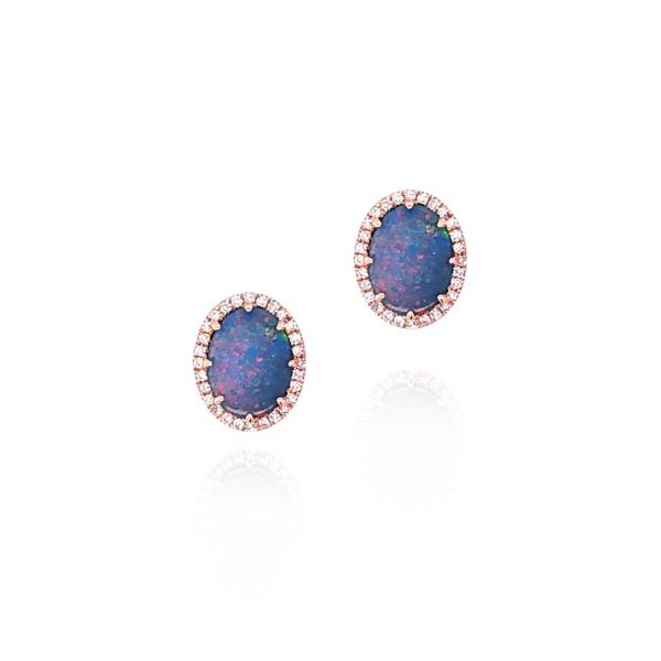 14K Rose Gold Black Opal & Diamond Earrings Champaign Jewelers Champaign, IL