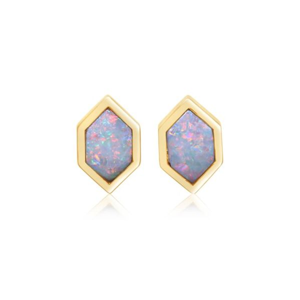 14K Yellow Gold Hexagon Opal Stud Earrings Champaign Jewelers Champaign, IL