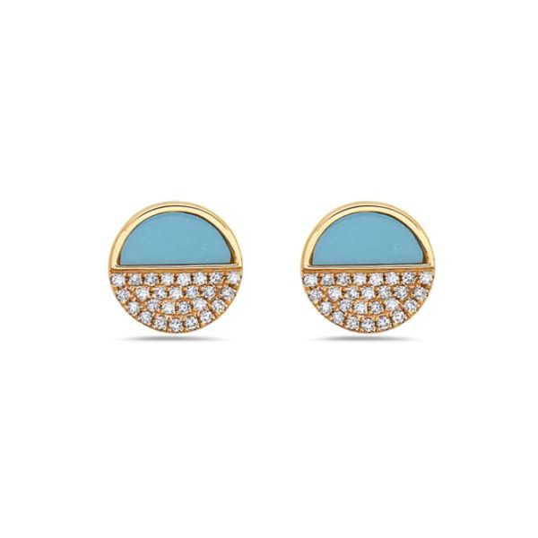 14K Halfmoon Turquoise & Pave Diamond Circle Earrings Champaign Jewelers Champaign, IL