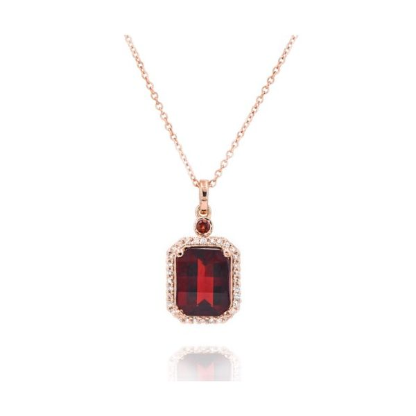 Custom 14K Rose Gold Garnet & Diamond Pendant Champaign Jewelers Champaign, IL