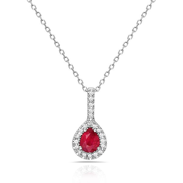 14K White Gold Pear Ruby & Diamond Halo Necklace Champaign Jewelers Champaign, IL