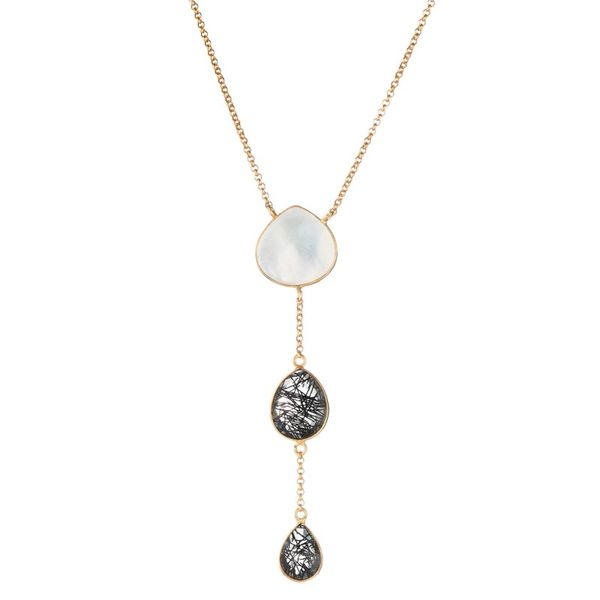 Elyssa Bass Mother of Pearl & Rutilated Quartz Lariat Necklace Champaign Jewelers Champaign, IL