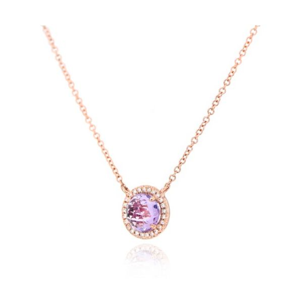 14K Rose-Cut Amethyst & Diamond Halo Necklace Image 2 Champaign Jewelers Champaign, IL