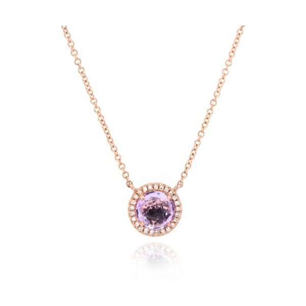 14K Rose-Cut Amethyst & Diamond Halo Necklace Champaign Jewelers Champaign, IL