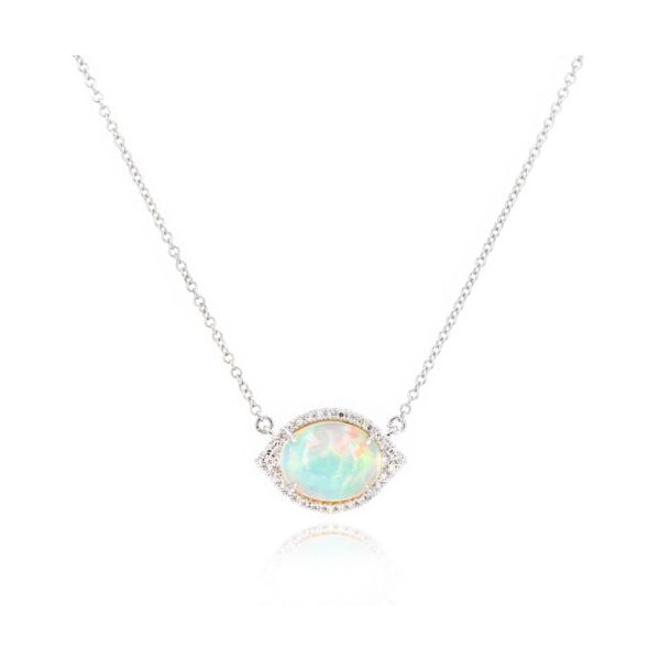 14K Opal & Diamond Necklace Champaign Jewelers Champaign, IL