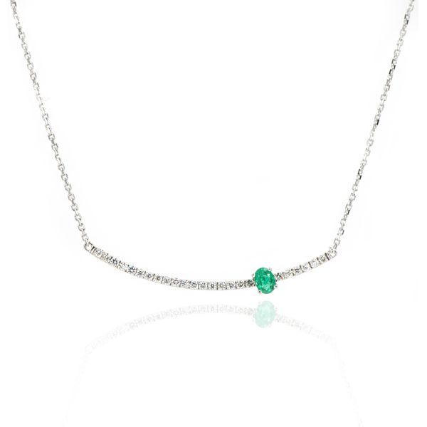 14K White Gold Diamond & Emerald Trapeze Necklace Champaign Jewelers Champaign, IL