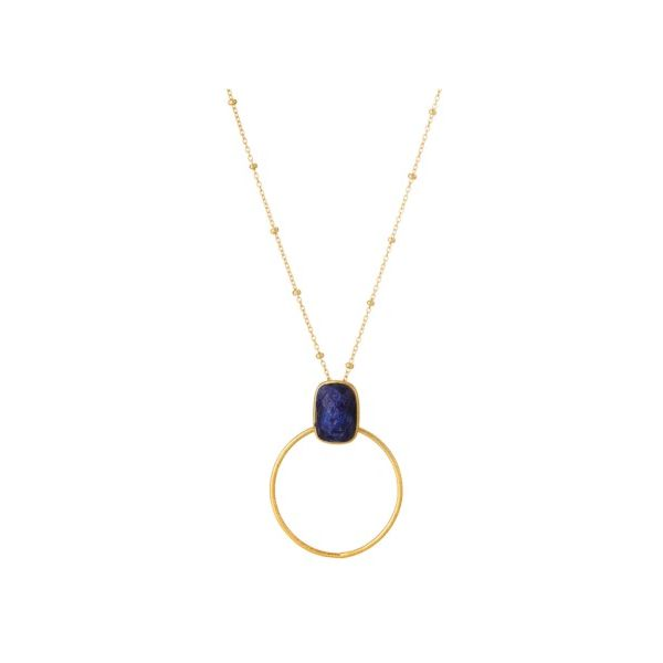 Elyssa Bass Circle & Blue Sapphire Necklace Champaign Jewelers Champaign, IL