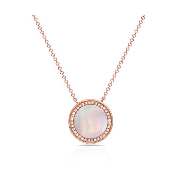 14K Mother of Pearl & Diamond Halo Necklace Champaign Jewelers Champaign, IL