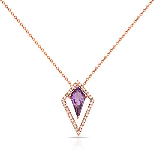 14K Fantasy Cut Kite Amethyst & Diamond Necklace Champaign Jewelers Champaign, IL