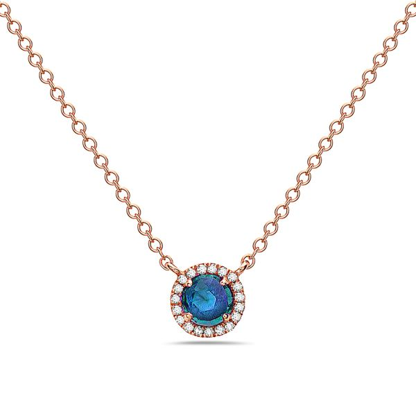 14K Rose Cut London Blue Topaz & Diamond Halo Necklace Champaign Jewelers Champaign, IL
