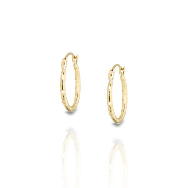14K Yellow Gold Textured Small Hoop Earrings Champaign Jewelers Champaign, IL