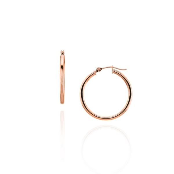14K Yellow Gold Polished 20mm Medium Hoop Earrings Champaign Jewelers Champaign, IL