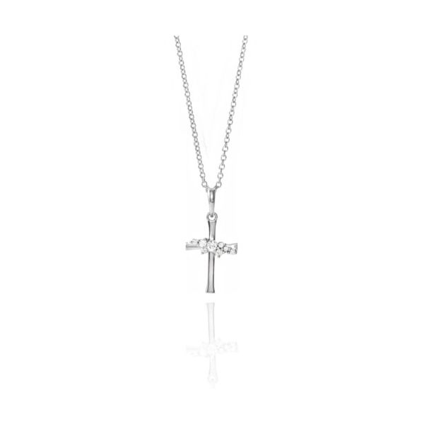 Sterling Silver Diamond Cluster Cross Necklace Champaign Jewelers Champaign, IL