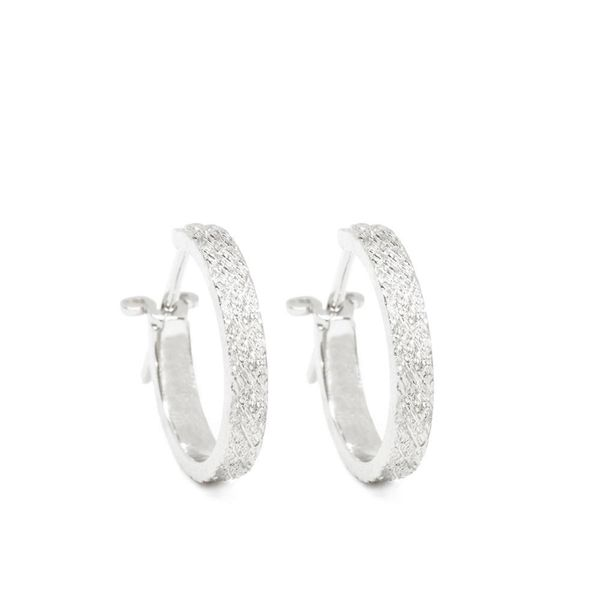Nina Nguyen Florentine 15mm Silver Hoop Earrings Champaign Jewelers Champaign, IL