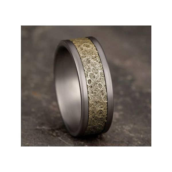 Amarra Tantalum & Bronze Moonrock Wedding Band Image 4 Champaign Jewelers Champaign, IL