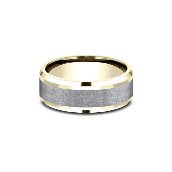 Ammara 14k Yellow Gold & Tantalum Wedding Band Image 2 Champaign Jewelers Champaign, IL