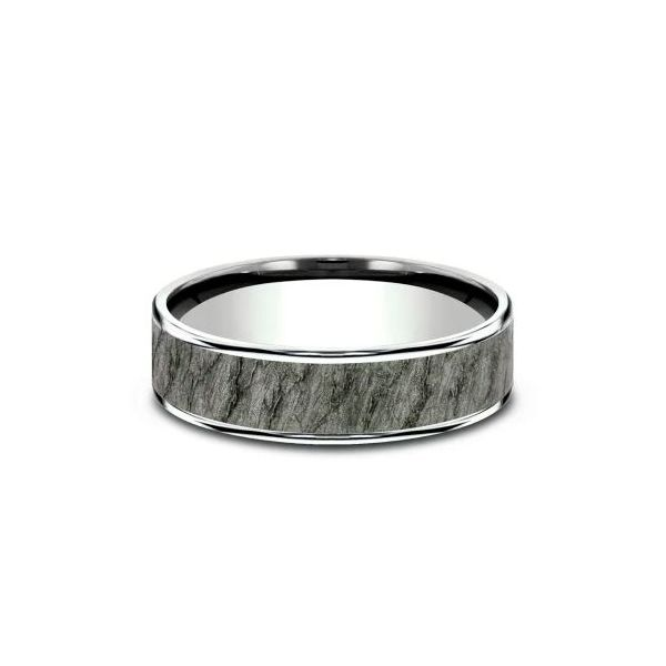 Ammara 14k Gold & Tantalum Lava Rock Wedding Band Image 3 Champaign Jewelers Champaign, IL