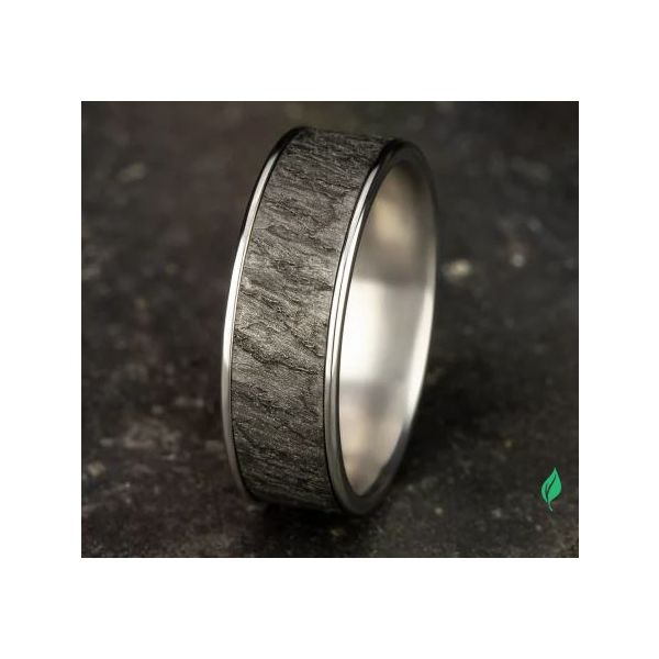 Ammara 14k Gold & Tantalum Lava Rock Wedding Band Image 4 Champaign Jewelers Champaign, IL