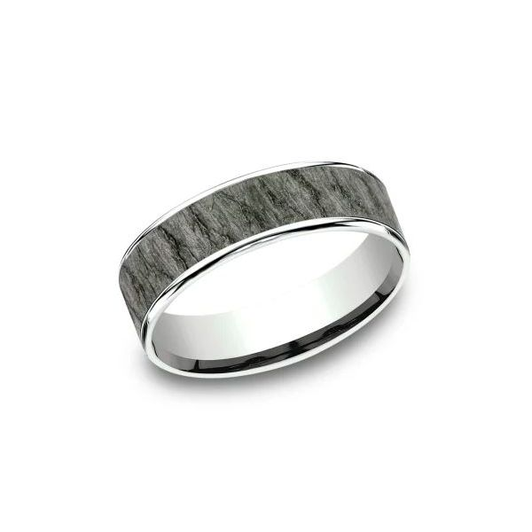 Ammara 14k Gold & Tantalum Lava Rock Wedding Band Champaign Jewelers Champaign, IL