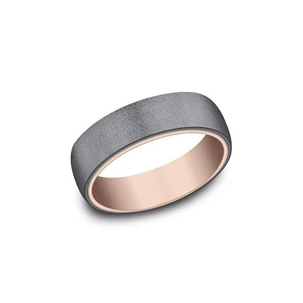 Ammara 14k Rose Gold & Wire Brushed Dark Tantalum Wedding Band Champaign Jewelers Champaign, IL