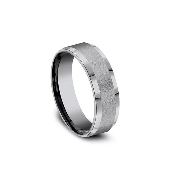 Ammara Grey Tantalum Wire-Brushed Wedding Band Image 2 Champaign Jewelers Champaign, IL