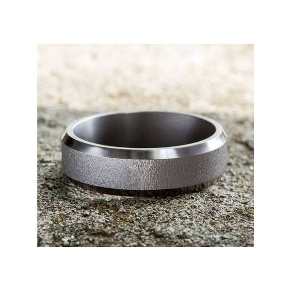 Ammara Grey Tantalum Wire-Brushed Wedding Band Image 4 Champaign Jewelers Champaign, IL