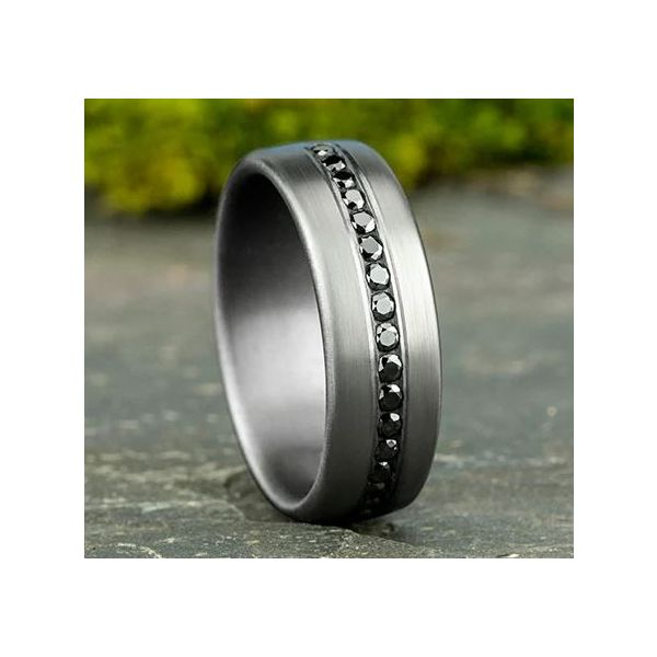Ammara Tantalum & Black Diamond Wedding Band Image 4 Champaign Jewelers Champaign, IL
