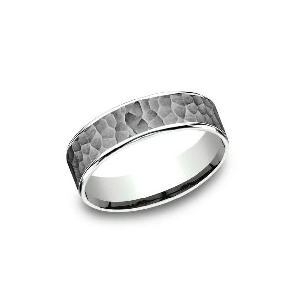 Ammara 14k White Gold & Tantalum Hammered Wedding Band Champaign Jewelers Champaign, IL