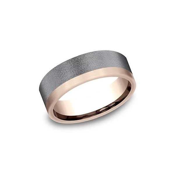 Ammara 14k Rose Gold & Tantalum Assymetrical Contrast Wedding Band Champaign Jewelers Champaign, IL