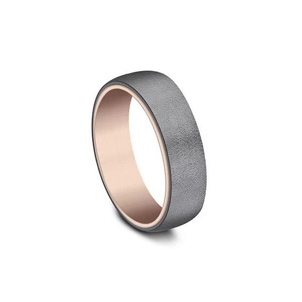 Ammara 14k Rose Gold & Wire Brushed Dark Tantalum Wedding Band Image 2 Champaign Jewelers Champaign, IL