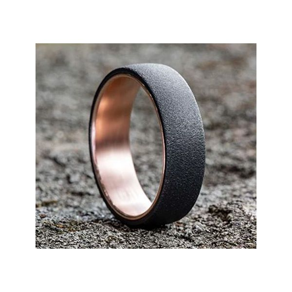Ammara 14k Rose Gold & Wire Brushed Dark Tantalum Wedding Band Image 4 Champaign Jewelers Champaign, IL