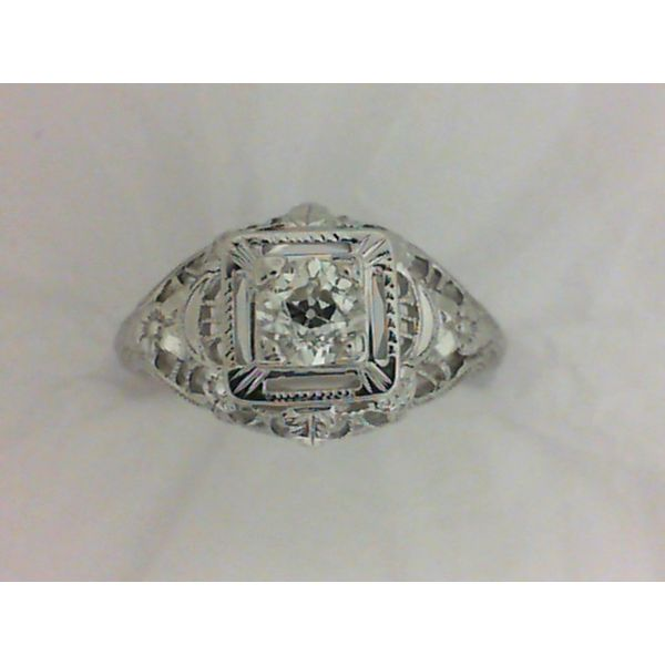 18KW .37ct Ctr Dia, Filigree Vintage Engagement Ring Size 6 Chipper's Jewelry Bonney Lake, WA