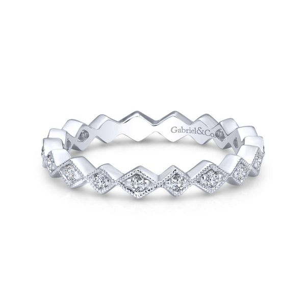 14KW Contoured Diamond Zig Zag Stackable Sz 6.5 Chipper's Jewelry Bonney Lake, WA