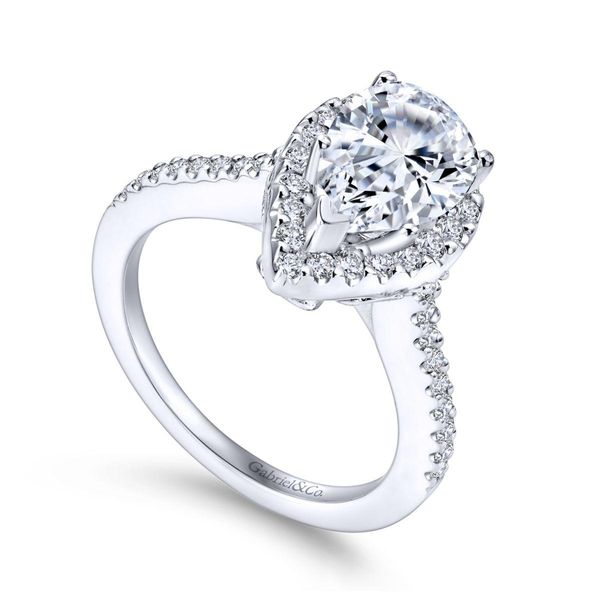 14KW Semi-Mount for 1.0ct Pear w/CZ Ctr Size 6.5 Image 2 Chipper's Jewelry Bonney Lake, WA