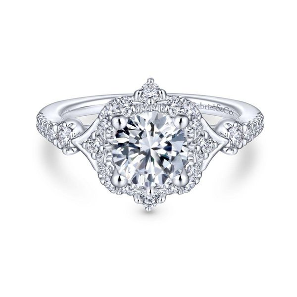 Unique 14K White Gold Vintage Halo Engagement Ring Chipper's Jewelry Bonney Lake, WA