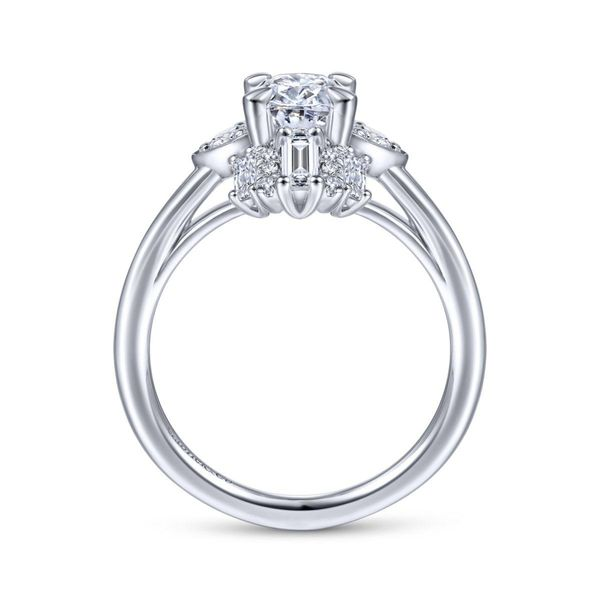 Art Deco 14K White Gold Oval Halo Diamond Engagement Rnig Image 2 Chipper's Jewelry Bonney Lake, WA