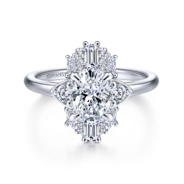 Art Deco 14K White Gold Oval Halo Diamond Engagement Rnig Chipper's Jewelry Bonney Lake, WA