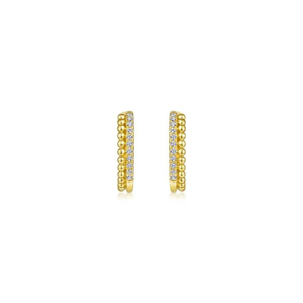 14KY .11ctw Beaded Pave 10mm Dia Huggie Earrings Image 2 Chipper's Jewelry Bonney Lake, WA