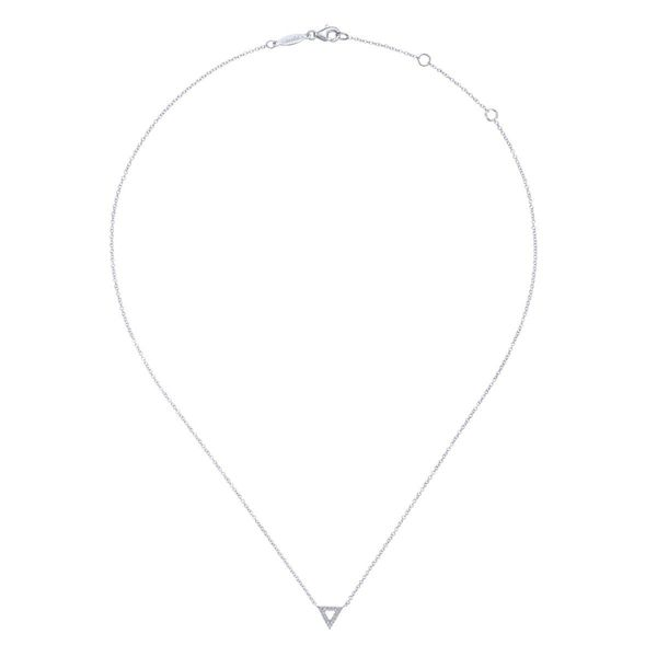 14KW 0.06ctw Dia Open Triangle Pend/Necklace 17.5