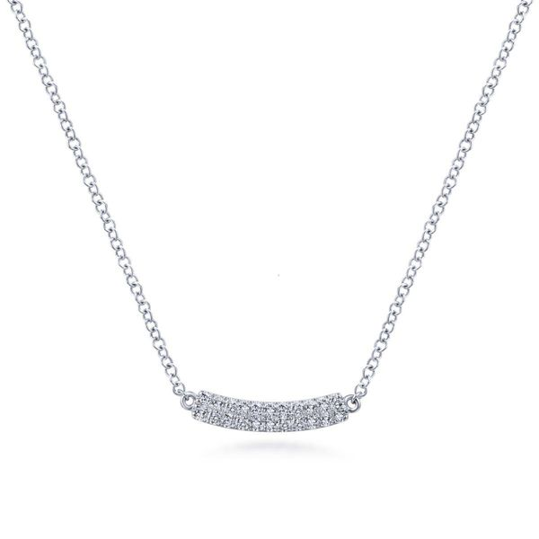 14KW 0.11ctw Dia Curved Bar Necklace 17.5