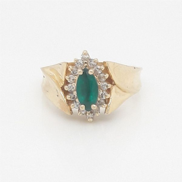 14K Yellow Gold Diamond, Created Emerald Ring Size 6.75 Chipper's Jewelry Bonney Lake, WA