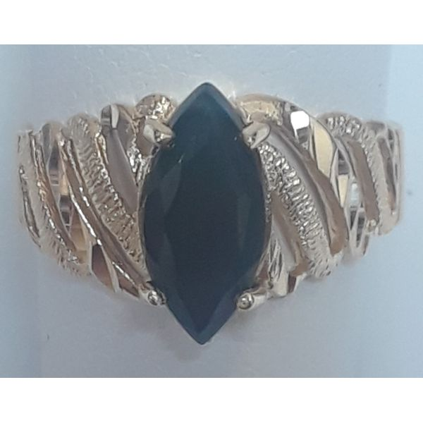 14KY Black Onyx Chalcedony Size 7.75 Chipper's Jewelry Bonney Lake, WA