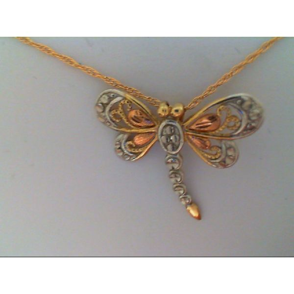 14K Tri-Color Dragonfly Pendant on 18
