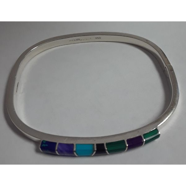 Sterling Silver Hinged Bangle Bracelet w/Colored Stones Image 2 Chipper's Jewelry Bonney Lake, WA