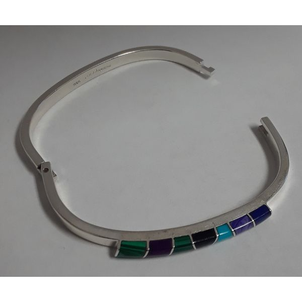 Sterling Silver Hinged Bangle Bracelet w/Colored Stones Image 3 Chipper's Jewelry Bonney Lake, WA