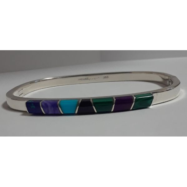 Sterling Silver Hinged Bangle Bracelet w/Colored Stones Chipper's Jewelry Bonney Lake, WA