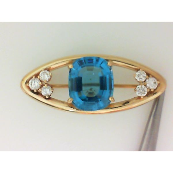 14K Yellow Gold Blue Topaz & Diamond Brooch Image 2 Chipper's Jewelry Bonney Lake, WA