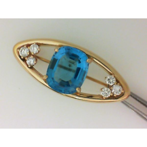 14K Yellow Gold Blue Topaz & Diamond Brooch Chipper's Jewelry Bonney Lake, WA