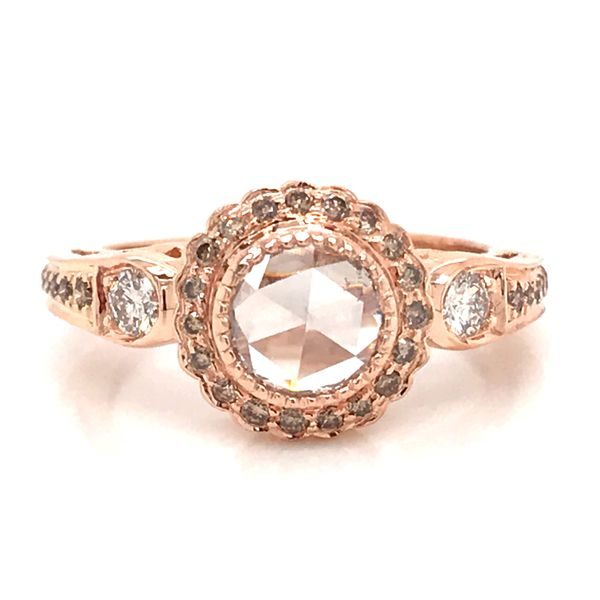 14K RG Ladies 0.84ct TW Rose Cut Center Diamond and Champagne Diamond Accent Ring Skaneateles Jewelry Skaneateles, NY