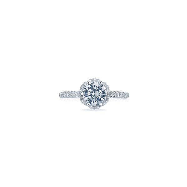 Tacori Petite Crescent Round Floral Halo Engagement Ring Skaneateles Jewelry Skaneateles, NY